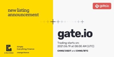 Chainge Finance Token $CHNG get listed on Gate.io Exchange